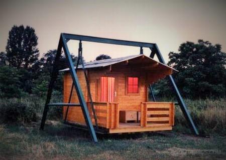Cabin on a swing